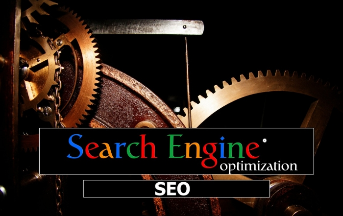 gears and Google search bar for SEO