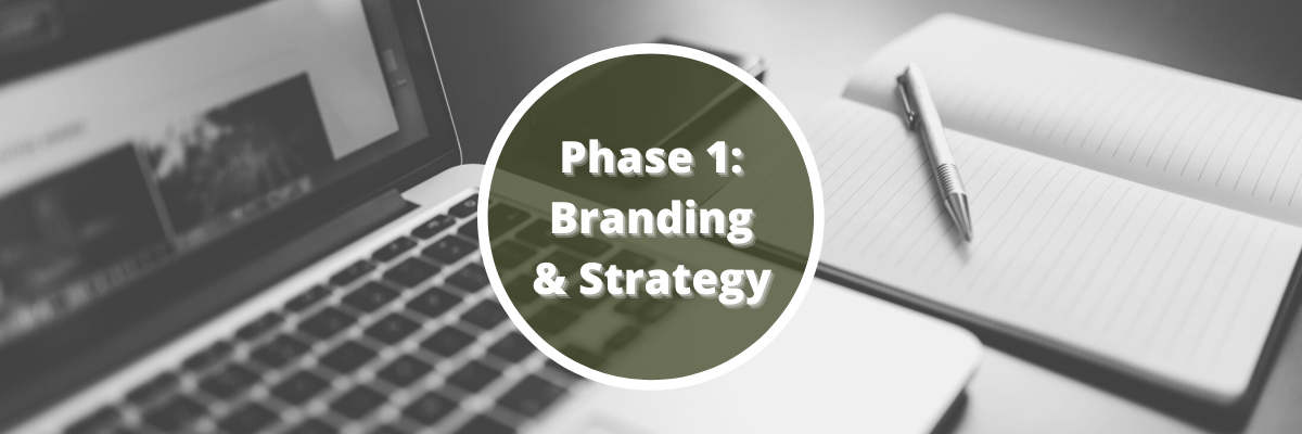 black and white photo of a laptop next to a notebook and pen overlaid with the Healthy Online Marketing Path title Phase 1: Branding & Strategy